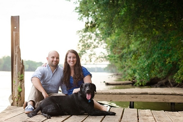 © Nicki Metcalf Photography | summer-engagement-photos, couple-Retriever-small-dock, Richmond-lifestyle-pet-photography