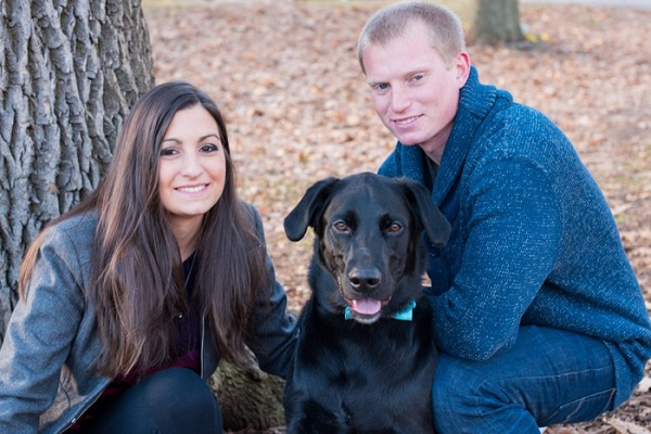 © Cassady K Photography   Fall-engagement-session, Black-Lab, Handsome-dog, Westchester-engagement-portraits