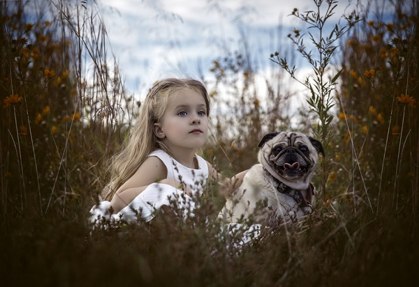 © Mila Jackson Photography | Pug and young blonde girl in field