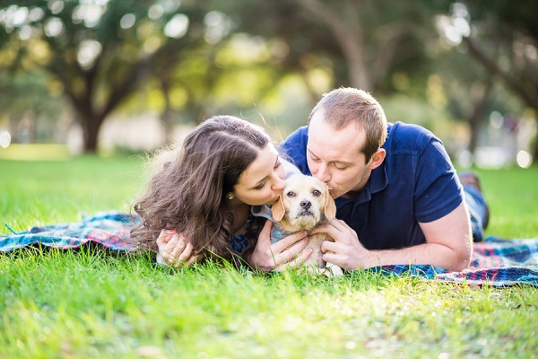 © Rad Red Creative | engagement photos at park, terrier mix, View More: http://radred.pass.us/samuel--chelsea-eng