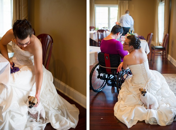 © Brittany Anderson Photography  | wedding reception, bride, dog, guest in wheelchair