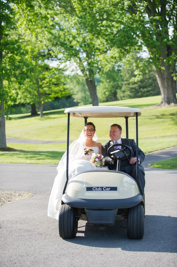 © Brittany Anderson Photography  | bride,groom, dog in golf-cart,  W VA wedding photography