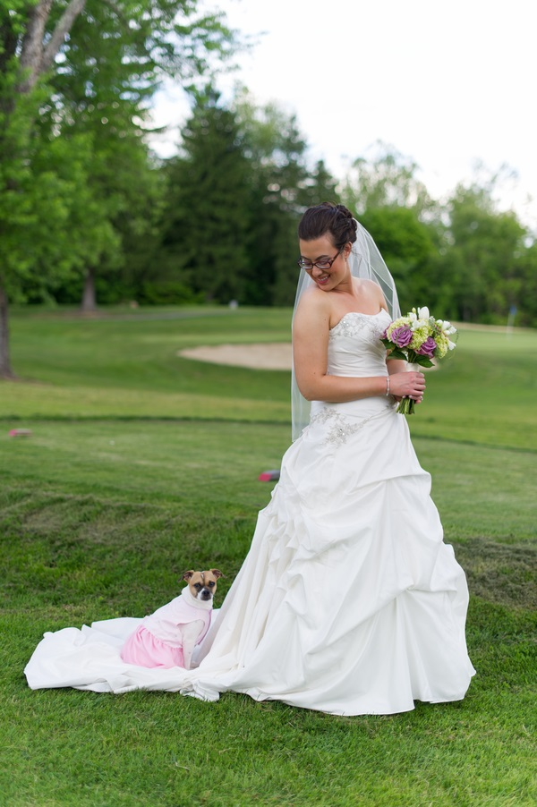 © Brittany Anderson Photography | small-dog-with-bride-on-golf-course, dog at a wedding