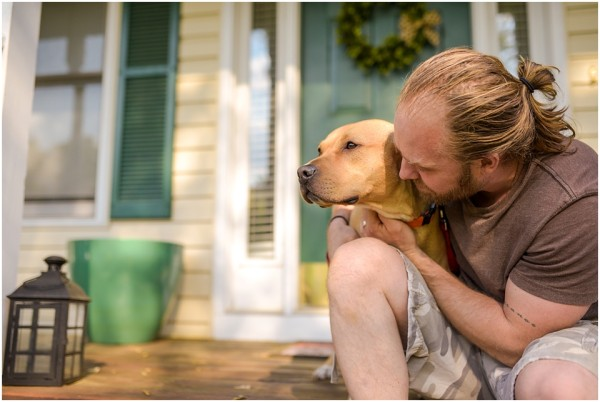 © Wolfcrest Photography  | Foster-dog, fostering-matters, lifestyle-dog-photography, man and dog sitting on porch, man's best friend