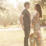 Joanne Leung  Van Nuys California Maternity Session With Golden Retriever Mix