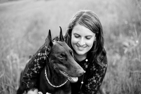 © Paw Prints - Custom Pet Portraits by Charlene | loving bond between human and dog, devoted hearts, black-white-pet-photography