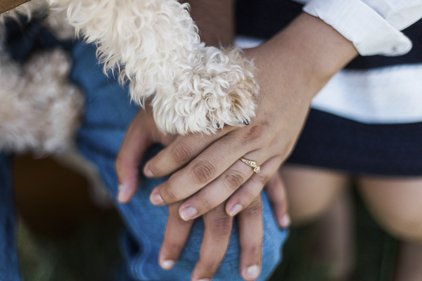 © Photography by Neswick| paws, hands, engagement ring, Engagement photos with small dog