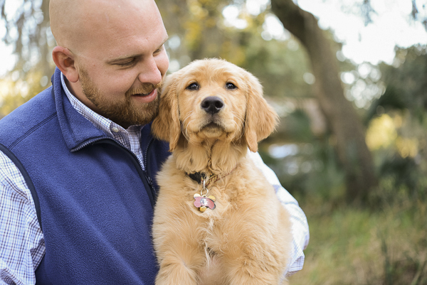 © Emily Katherine Photography | Fall Engagement Session, man and Golden Retriever puppy, on location pet photographer