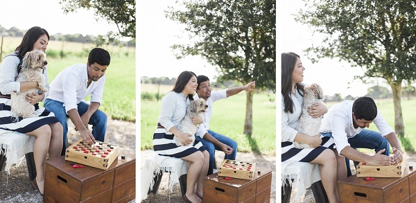 © Photography by Neswick |Checkers game-engagement photos with dog, engagement photos with a small dog