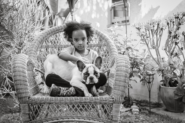 © Mara Casey Shoots | black white dog & child portraits, on location Los Angeles dog-kid photographer