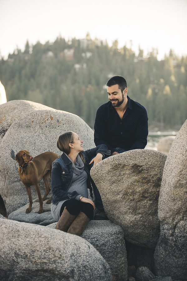 © Lauren Lindley Photography | Maternity session with dogs, on location lifestyle photography, Zephyr Cove, NV