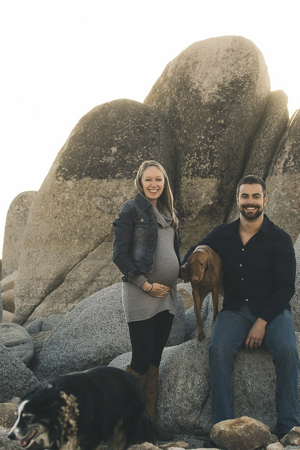 © Lauren Lindley Photography | maternity beach session Vizsla, Border Collie, Zephyr Cove maternity session, including pets in maternity photos