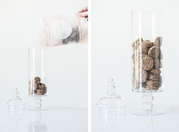 dog treats in elegant glass jar