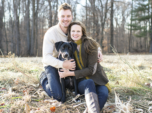 © Rachel Harrod Photography | Autumn engagement photos with Retriever mix puppy