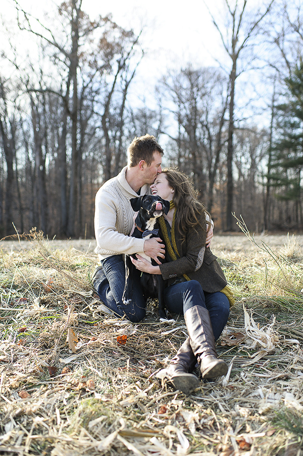 © Rachel Harrod Photography   Engagement portrait session with dog, cornfield engagement photos, dog with tongue out