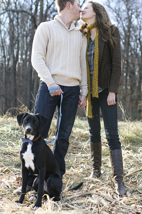 © Rachel Harrod Photography | Fall-engagement-photos-with-puppy-wearing-bow-tie, what to wear for engagement portraits