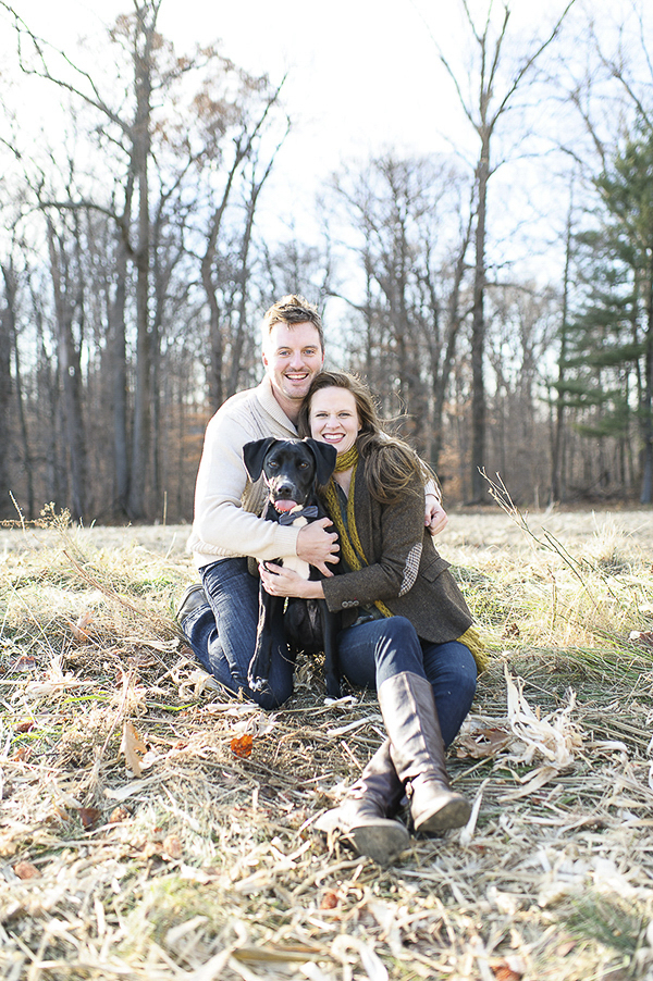 © Rachel Harrod Photography | On-location-engagement photos with dog, retriever mix in engagement photos