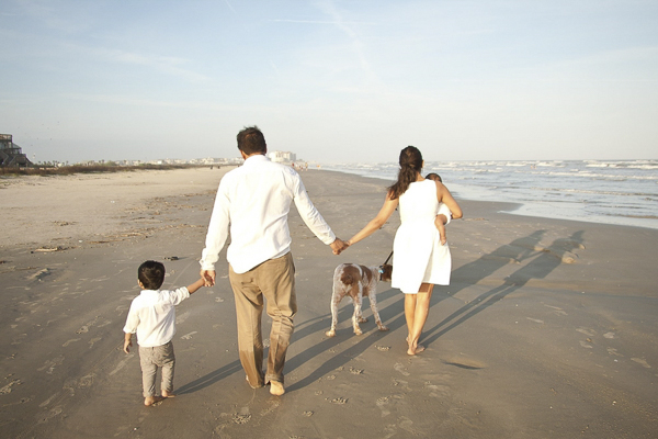 © Degrees North Images | beach dog, family-walking-dog-on-beach
