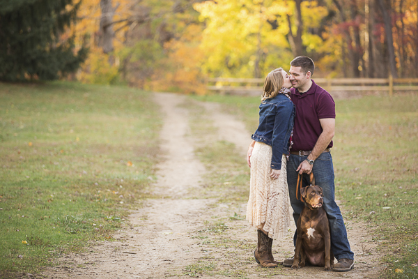 © Samantha Jay Photography | fall engagement photos with dog, Lab/Pit bull mix