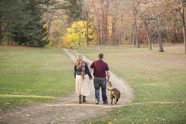 © Samantha Jay Photography | Lab/Pit bull mix and engaged couple walking on fall day