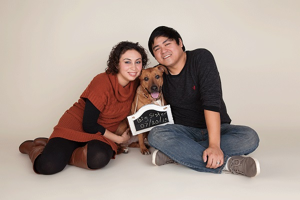 "© Cathy Murai Photography | dog with ""big sister"" sign, dog announcing human's pregnancy, family photos with dog"
