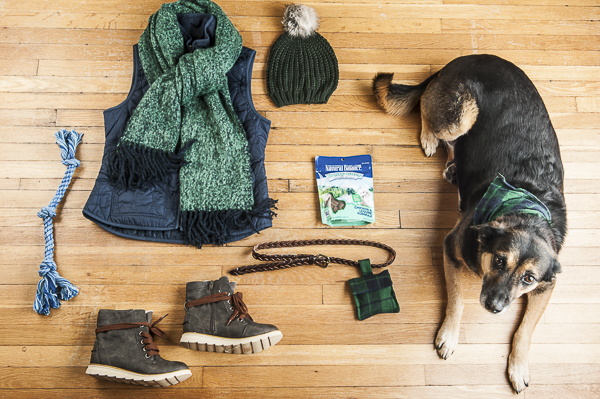 The Daily Dog Tag | Flat Lay, Scarf, vest, boots, rope dog toy, hat, Natural Balance, awesome rescue dog DIY, fabric treat bag, belt