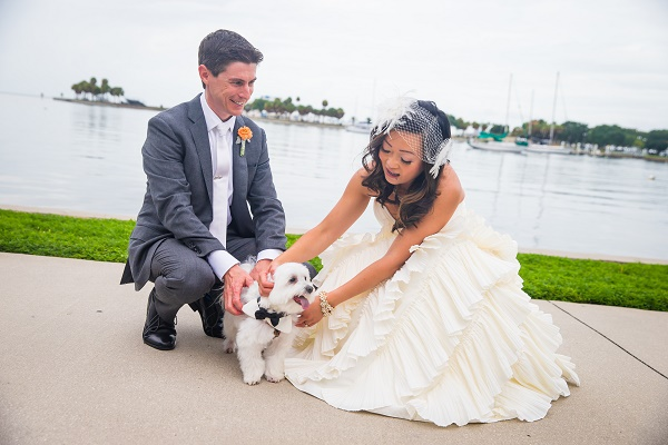 © Eleven Weddings | wedding dog, bride, groom and dog