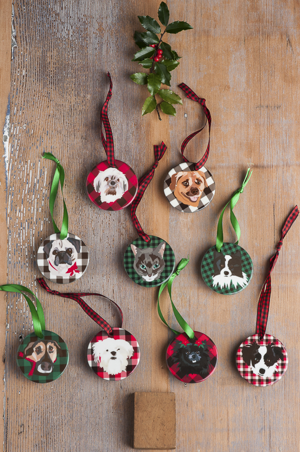 Custom Illustrated pet ornaments, gift ideas for dog lovers