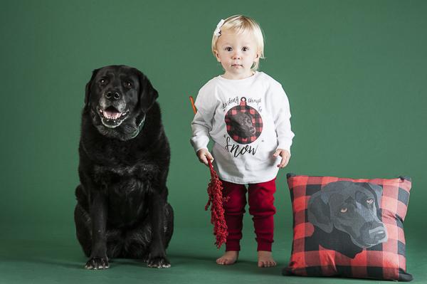 black lab, toddler wearing pajama shirt with black lab, decorative pillow, custom pet illustrations