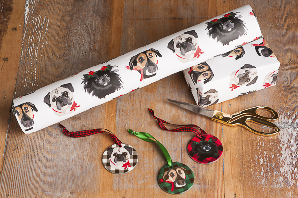 custom holiday gift wrap and ornaments, pet illustrations