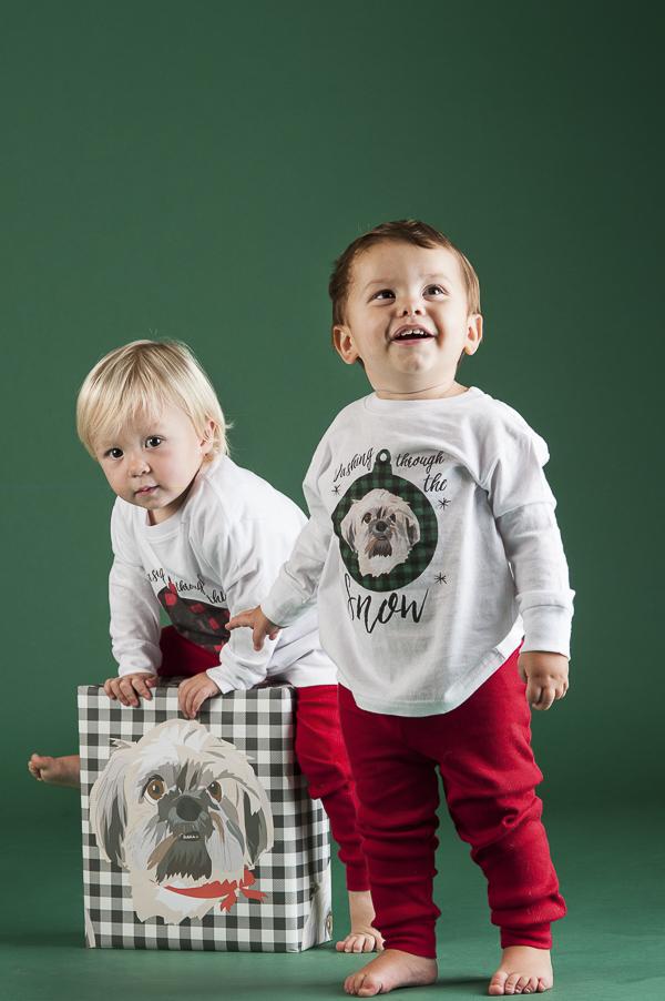toddlers, custom pet portrait pajamas, custom pet illustration gift wrap