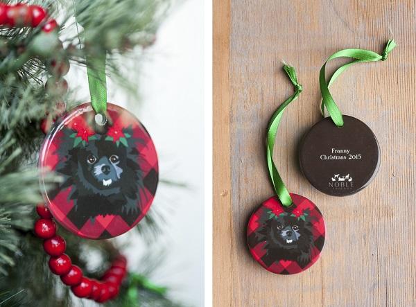 ceramic ornament, black Pomeranian on buffalo plaid