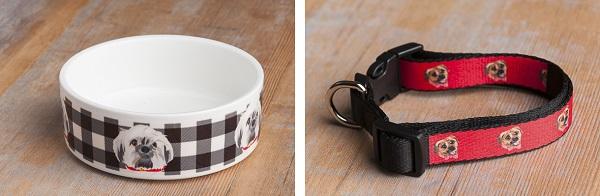 custom ceramic dog bowl, custom dog collar with dog illustration, Puggle