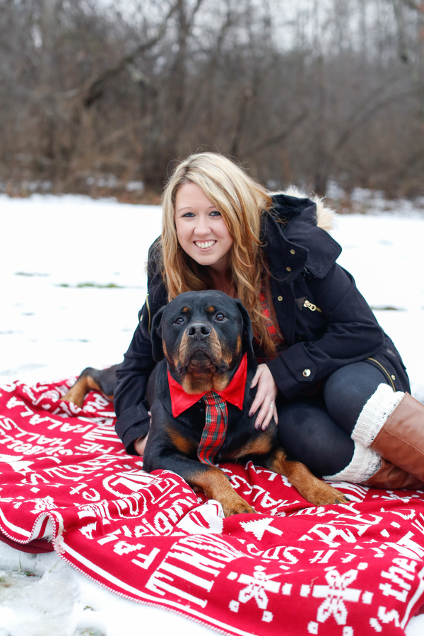 Rottweiler, woman on blanket, holiday card photos, dynamic duo, girl and her dog