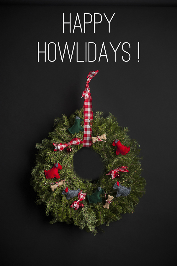 dog felt ornaments-Howliday wreath on black, diy wreath for doglover