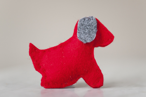 DIY Dog themed felt ornaments, red felt dog, gray ears handmade dog ornament, last minute gift for dog lover
