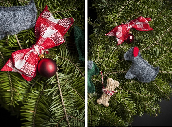 dog lover wreath, DIY dog project, felt ornaments