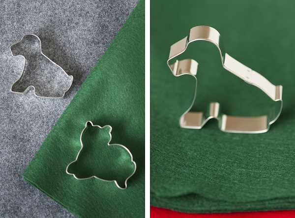 DIY Dog themed felt ornaments-cookie-cutter