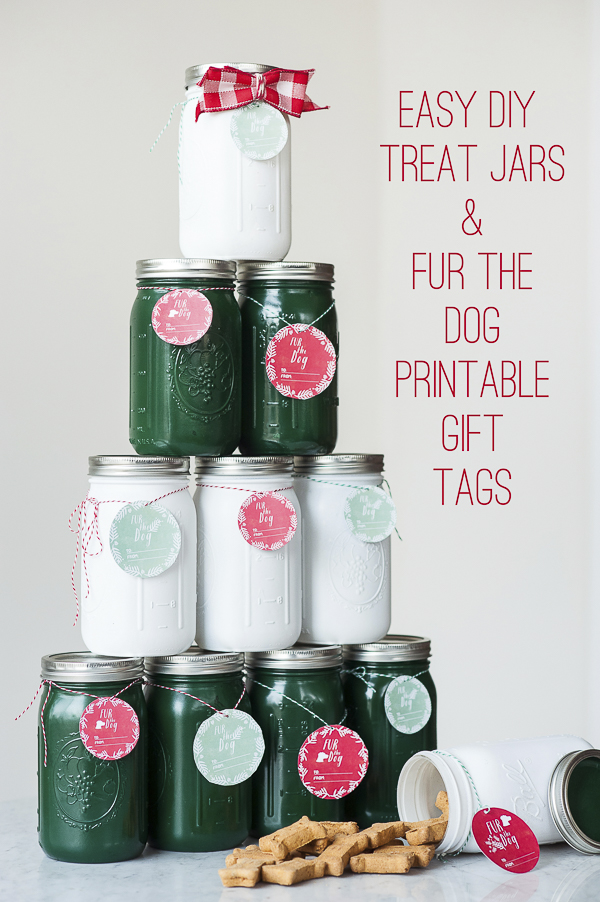 upcycled mason jars, Easy diy treat jars, printable gift tags, easy gifts for dog people