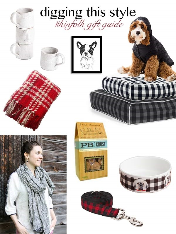 Digging-This-Style-Kinfolk-Dog-Lover-Gift-Guide-by-The-Daily-Dog-Tag, mugs, Frenchie print, black hoodie for dog, buffalo check dog beds, plaid throw, dog treats, ceramic dog bowl, red buffalo check lead, scarf