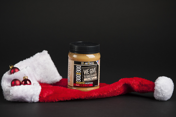 Tractor Supply Holiday Gifts Shelter dogs, Dogsbutter jar on Santa hat, styled pet product photography