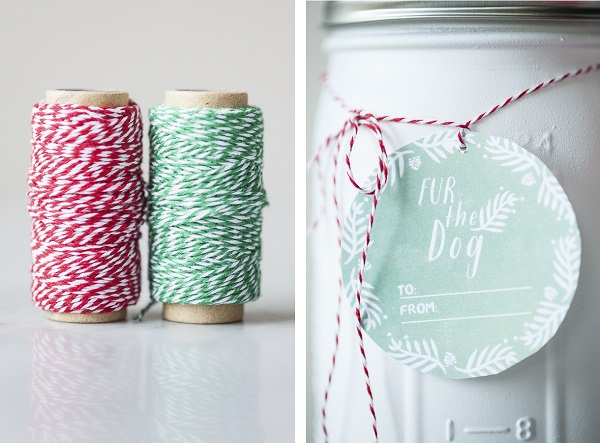 Upcycled Mason Jar, Baker's twine holiday gift tag