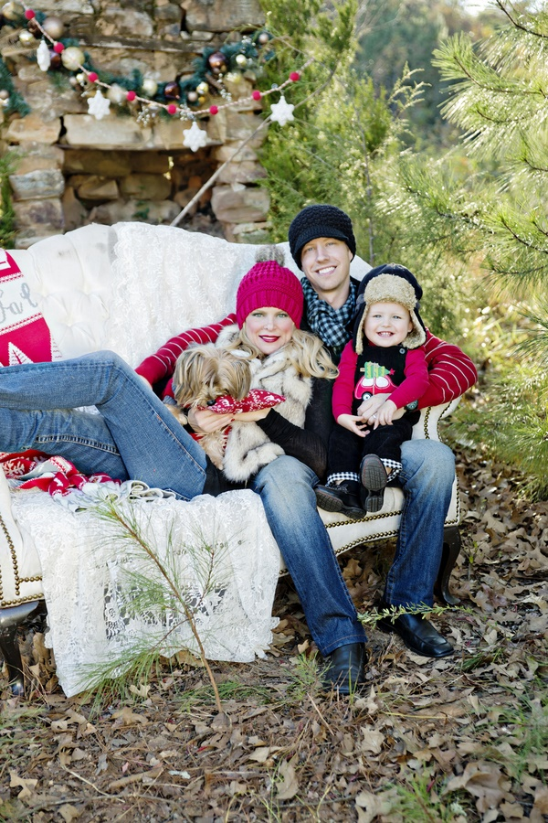 styled outdoor Christmas photos, family dog on sofa, chimney