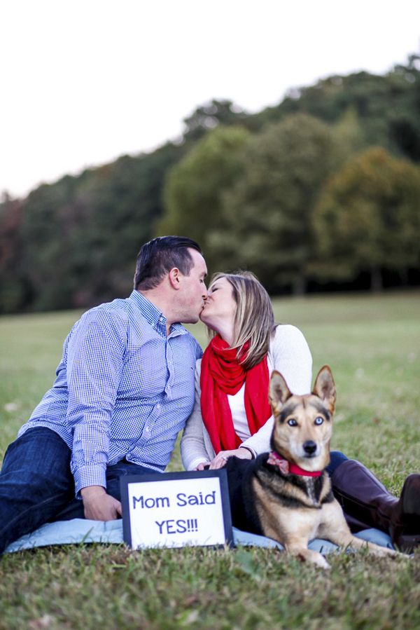 engaged couple, save the date photos, dog