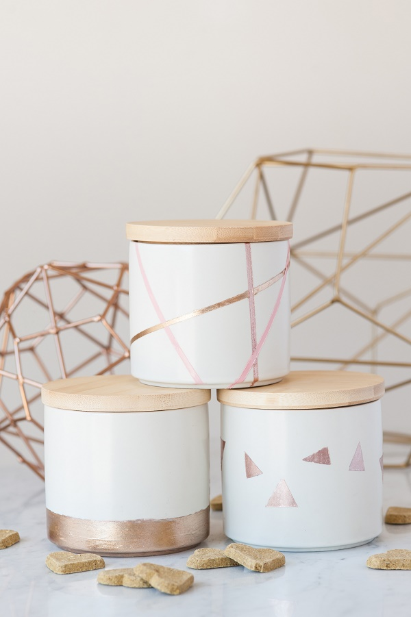 Easy Geometric treat jars, nail polish craft project