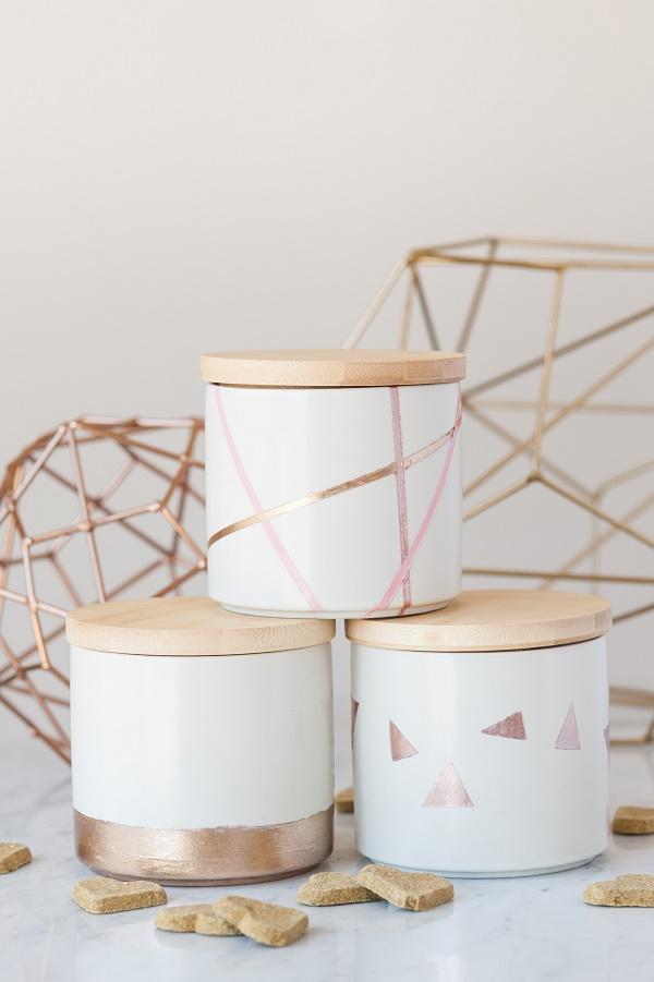 Easy Geometric treat jars, nail polish craft project