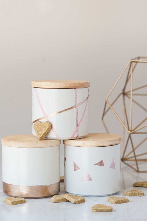 diy-Geometric Nail Polish treat jars