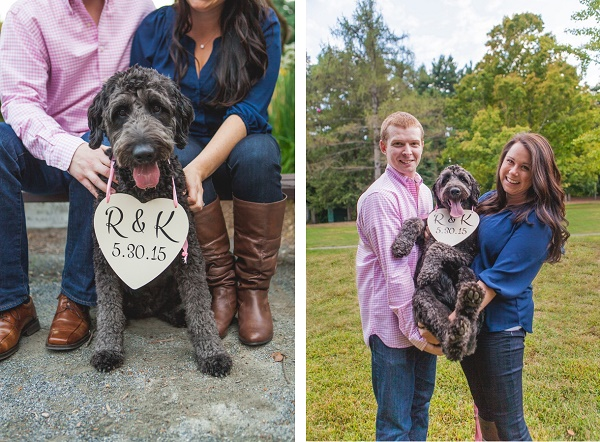 Doodle with heart shaped save the date sign, couple holding dog, holding sign