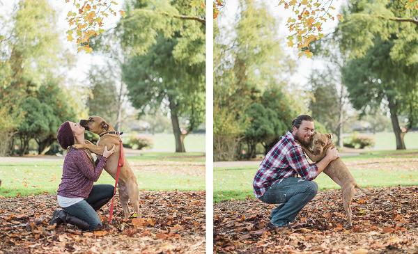 Pit bulls hugging people, family dog park photos