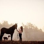 horse, dog, girl, on location photography